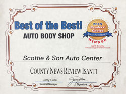 2019 Readers Choice Award - Best Auto Body Shop.